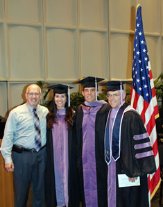 From left: Dr. Boyd Robinson, Dr. Katherine Maldonado, Dr. Henry Foerster and Dr. Ulrich Foerster. Maldonado and Henry Foerster were sworn in as commissioned officers in the US Air Force by Ulrich Foerster, a retired Air Force officer and a faculty member at the college, immediately after commencement.